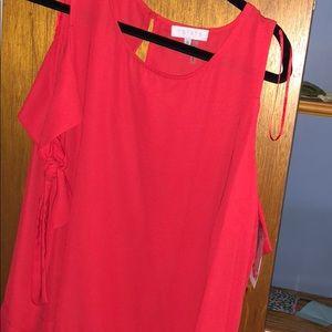 1 state red blouse medium
